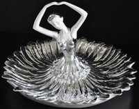 Wholesale Resin craft home decoration rhinestone ballet beautiful fruit bowl candy dish Hotel Show ornaments