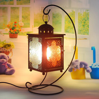 Wholesale Moroccan lantern creative living room bedroom bedside lamp stained glass wrought iron European retro home decoration lights