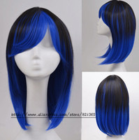 Cheap Sexy Heat Friendly Short Straight Lolita Cosplay Wig Party Hair Student Wig (Dark Blue) peluca Ombre wig peruca Perruque