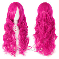 Cheap Hatsune miku wig Rose red Curly Wavy Heat Resistance Cosplay Wig Anime Show & Party & Performance Hair Perruque peluca peruca