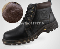 Wholesale 2014 New winter Leather Rubber Men Boots non slip outdoor leisure shoes men s High top shoes Warm Waterproof Snow Boots