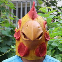 Wholesale Yellow Creepy Chicken Mask Head For Halloween Party Decorations Costume Theater Prop Novelty Latex Rubber Masks Perfect Looking TOY0013