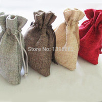 Wholesale cm Natural Color Jute Bag Drawstring Gift Candy Beads Bags for Storage Wedding Decor