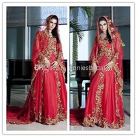 Cheap 2014 New Long Sleeve India Style Wedding Dresses Red Gold Dubai Abaya Beaded Applique Evening Bridal Gowns Turkey Kaftan