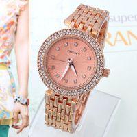 Cheap Women Rhinestone Watch KINGSKY Hardlex Steel Case Fashion Wristwatches Smart Clocks Quartz Movement Crystal hours