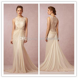 Wholesale Bhldn Lace Sheer Wedding Dresses Jewel Ruched Sweep Train Sexy Sheath Chiffon Bridal Gowns Custom Made