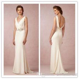 Wholesale Bhldn New Backless Wedding Dresses V neck Beaded Applique Floor Length Sexy Sheath Bridal Gowns Custom Made