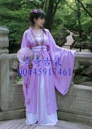 Wholesale Kiki costume Han Chinese clothing lilac breasted coat large sleeved shirt embroidered white dress jacket edge