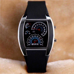 Wholesale Blue Light Aviation LED Display Men Women Military Watches Rubber Band Army Wristwatches New Fashion