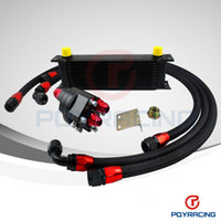 Wholesale PQY STORE UNIVERSAL ROWS ENGINE OIL COOLER ALUMINUM OIL FILTER COOLER RELOCATION KIT X BLACK NYLON BRAIDED HOSE LINE ADAPTER