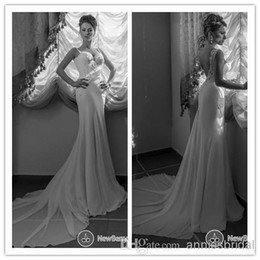Wholesale 2014 New Sexy Chiffon Mermaid Backless Wedding Dresses Spaghetti Sweetheart Court Train Bridal Gowns With Applique No