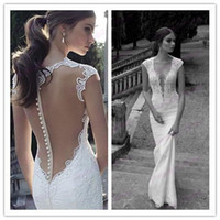 Cheap Trumpet/Mermaid Wedding Dresses Best Reference Images V-Neck Vneck Lace Applique