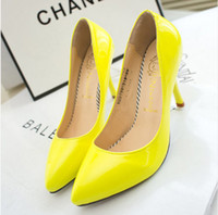 Wholesale Neon Yellow Thin Heel Pointed Loyal Blue Women s Pumps High Heels Red Bottom Vintage Sexy Women shoes