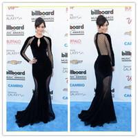 Cheap 2014 Hot Sale Zuhair Murad New Evening Gowns Mermaid Sheer Long Sleeves Black Celebrity Dresses 1016j