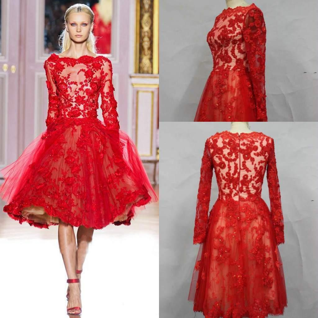 2014 red lace short prom evening gowns zuhair murad cute