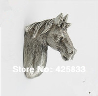 Wholesale 5pcs Horse Pulls Terne Metal Antique Silver Knobs Cabinet Door Kids Animal Handle Drawer Pulls Kids Dresser Knobs Cartoon Animal