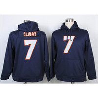 name brand clothing - Cheap Mens John Elway Navy Blue American Football Pullover Hoodies Name Number Stitched On Long Sleeve Brand Sports Clothes High Quality