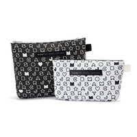 Wholesale Simple and elegant black and white letters thicker cloth bag Cosmetic Pouch PIP sets