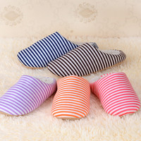 floor pads - New Autumn and Winter Stripes Warm Men Women Cotton padded Lovers at Home Slippers Unisex Floor shoes