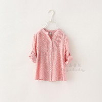 small wholesale lots - Spring autumn clothing children shirts girls dot small floral long sleeve shirts kids shirt clothes size SM445