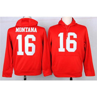 Wholesale SF Joe Montana Red American Football Pullover Hoodies Discount Football Uniforms Name Number Stitched On Long Sleeve Football Sweaters