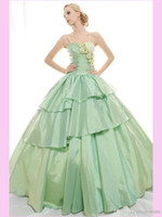 Wholesale New Design Taffeta Ball Gown Quinceanera Dresses Spaghetti straps backless zipper sweep train tiered Prom Gowns custom made prom gowns