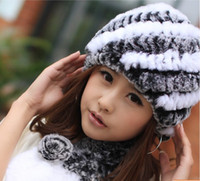 Wholesale rex rabbit hair fur hat fashion skullies autumn and winter thickening knitted rabbit fur hat hat for women made in China