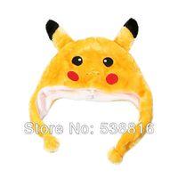 al por mayor winter hats wholesale-Venta por mayor-Free Shipping Pikachu sombrero otoño e invierno niños #039; s adultos animales Pikachu Pokemon sombrero 5Pcs/lot