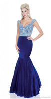 Wholesale Velvet Cap Sleeves Sexy Pageant Dresses V neck Backless Floor length Mermaid Party Evening Gowns Dress With Rhinestone and Beads