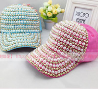 Wholesale Summer Korean version of the influx of female models pearl Diamond baseball cap cap cap truck cap truck cap subnet