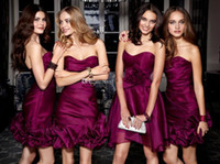 Cheap 2014 Sexy Sheath Bridesmaid Dresses Cheap Sweetheart Ruffled Backless Knee Length Cocktail Dress Party Dress Short Prom Gowns