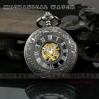 mens pocket watches - Mens New Fashion Cool Lead Black Style Roman Number Automatic Mechanical Pocket Watch