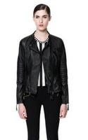 Wholesale Spring winter hot european leather woman jackets women double zipper head female motorcycle woman leather jacket black coat