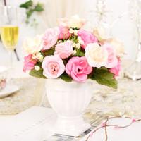 Wholesale Fashion home dining table desktop silk flower countertop decoration artificial flower small roman column artificial flower set