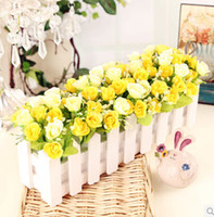 Wholesale 16 cm wooden fence flower artificial flowers finished suit