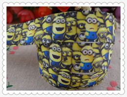 Wholesale 2014 new arrival quot mm Despicable Me Minions printed grosgrain ribbon cartoon ribbons hair accessories yards wq2825