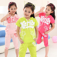 Wholesale Factory Express From China Summer Children Clothing Children Short Sleeve Solid Color Letters Girls Suits Outfits