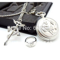 Cheap Wholesale-NEW Sunkee Fullmetal Alchemist Loose Pocket Watch Necklace Ring Set Cosplay AE00079