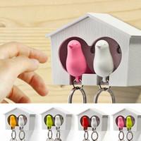Wholesale 1Set Double Whistle Bird House Car Keyring Wall Mount Hook Key Hanger Holder Plastic Sparrow Key Holder Keychains