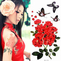 Wholesale Square plates woman costume tattoo stickers waterproof and sweat roses butterflies floral flower stickers with glitter