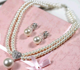Wholesale bride wedding tiara wedding jewelry accessories sets chain pearl necklace dress adorn article mix color