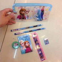 Wholesale FROZEN Children s cartoon bags FROZEN pencil eraser pencil sharpener book ruler stationery set school bag School Supplies Kids learning it