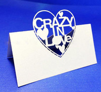 Wholesale 100pcs Crazy in Love Word Love Heart Design Table Card Paper Place Card Wedding Banquet Feast Guest Name Number Holder wc443