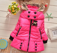 Wholesale Fashion Thickening Children Cotton padded Clothes Fur Collar Hooded Design Girls Winter Coat Down Jacket Outwear cg201