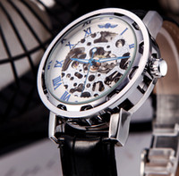 Wholesale Winner Skeleton Dial Hand Winding Mechanical Sport Army Watch Men Hollow Transparent Dial Leather Band Strap Wristwatches H11611