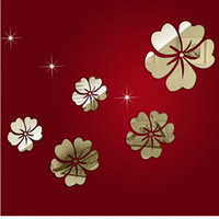 Wholesale 5pcs D DIY Acrylic Wall Sticke Set Home Movement Decoration Crystal Mirror Flower Sofa Bedroom Stickers Silver Black H12365