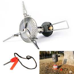 Wholesale ALOCS Stainless Steel Aluminum Mini Gas Stove Portable Burner All in one Type with Flint Outdoor Camping Hiking BBQ CS G09 H12147