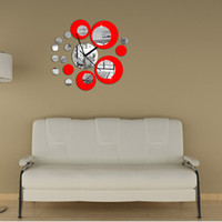 Wholesale 3D Crystal Mirror Effect Wall Clock Set Circular Composite DIY Modern Circle Design Home Room Decoration Decorative Decals H12363