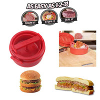 Wholesale Stuffed Hamburger Burger Press Mould Plastic Novelty Compact Kitchen Accessories Cooking Tool Red H11725