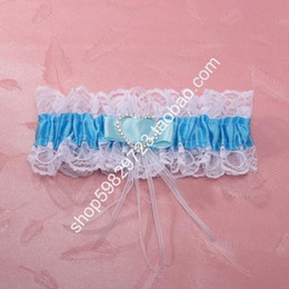 Wholesale Blue Theme Bridal Accessories Bridal Garters Sweet White And Blue Flower Lace Wedding Garters Handmade Brand New Bridal Garters